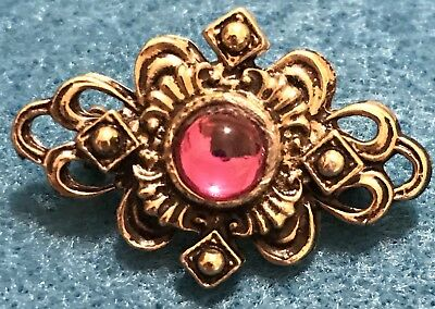 Vintage Gold Brooch Fuchsia Pink Glass Pin Cat's Eye Gem Stone  Estate Antique