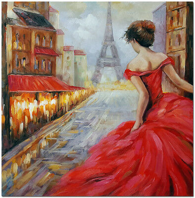 Romance Pursuit - Hand Painted Paris Street Landscape Oil Painting Wall Art