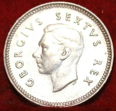 1950 South Africa 3 Pence Silver Foreign Coin