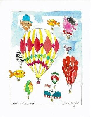 2002 BALLOON FIESTA Special Shapes Hot Air Balloons Print Signed By Kiran Levy