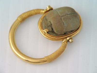 Rare Antique Ancient Egyptian 18K Solid Gold Carved Beetle Scarab Swivel Ring