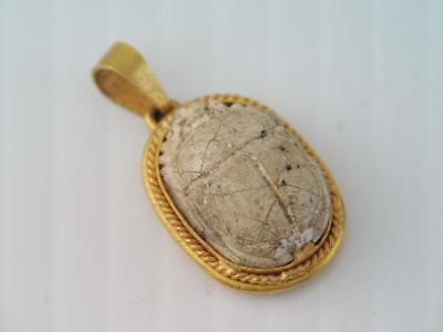 Antique Ancient Egyptian Solid 18K Egyptian Beetle Scarab Charm Or Pendant