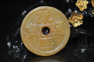 Exquisite China skillfully carving Collectible*康熙通寳*Safe jade buckle  a43