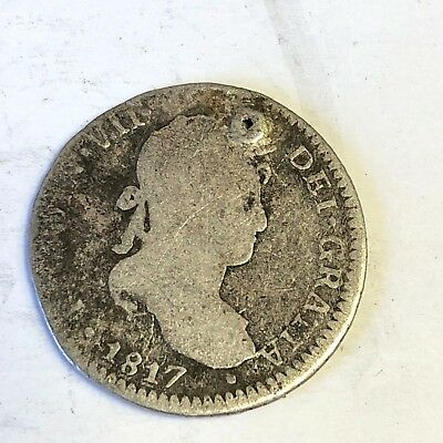 1817 JP Peru 1 Real, Ferdinand VII, Spanish Colonial silver coin (holed)