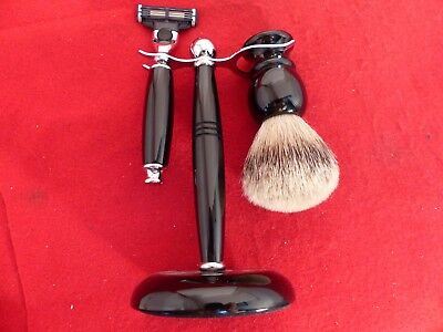 3-Piece Set-Razor-Nickel Plated-Pure Badger Brush-Stand ebony Gillette Fusion
