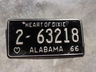 Alabama 1966 Heart of Dixie license plate #   2 - 63218
