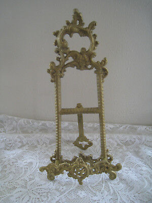 Vintage Solid Brass Ornate Easel Stand Picture/Artwork/Plate/ Book Stand