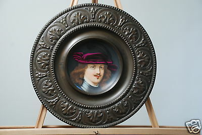 c.1800-1840's Russian Antique Peter the Great Painted Plate w/Bronze/Brass Frame