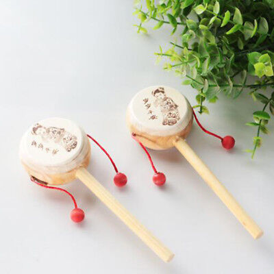 Chinese Old wooden Baby Kid  Hand Bell Toy Wooden Rattle Drum Musical Instrument