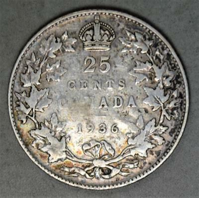 Canada 1936 25 Cents Silver Coin - With Dot Below Wreath