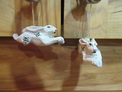 Set of 2 Pam Schifferl  White Rabbit ORNAMENT  Retired Christmas ornaments
