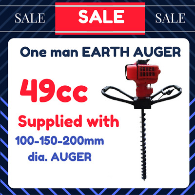 New Earth Auger One man Post Hole Digger 49cc included 3 Augers 100 150 200mm