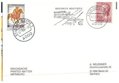 (E65) Luxembourg FDC cover - Seecuritée Routière - 1987