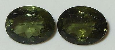 2.78ct Pair Faceted NICE QUALITY Natural Czechoslovakia Moldavite Oval Cut 9x7mm