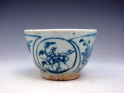 Antique QING DY Blue&White Porcelain Flower Blossoms Hand Painted Cup #11151802