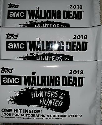 2018 Topps Walking Dead Hunters And Hunted 3 Hot Packs Auto Sketch Relic