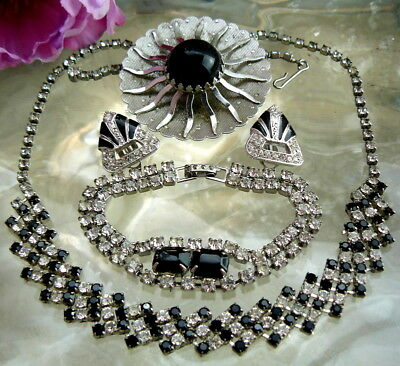 Black Glass Rhinestone Necklace Signed Richelieu Earrings Sarah Cov Pin Asis Lot