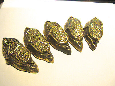 "Vintage Solid Brass Decoartive Drawer Pulls In Good Condition 3 3/8"" Wide"