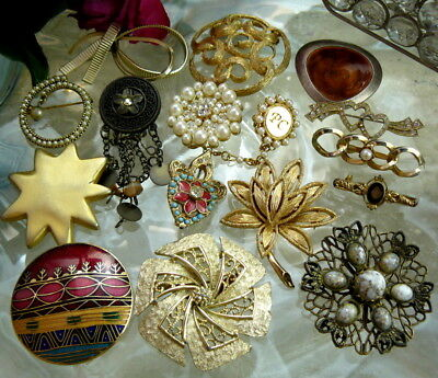 Pretty Vintage Mod Costume Jewelry Pin Brooch Lot Designer Signed Coventry Avon+