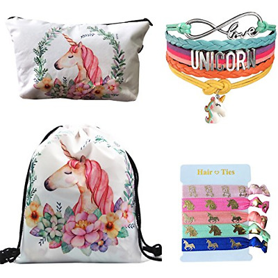 Unicorn Gifts 4 Pack - Unicorn Drawstring Backpack/Makeup Bag/Bracelet/Hair Tie