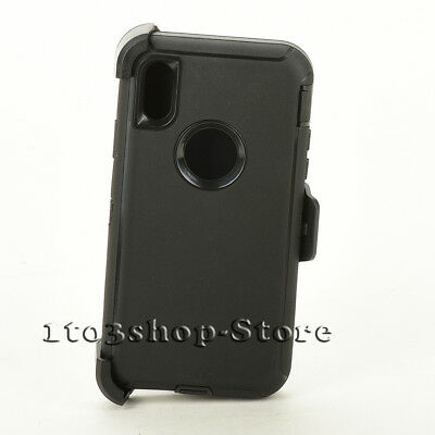 iPhone X & iPhone Xs Hard Case w/Holster Belt Clip Fits Otterbox Defender Black