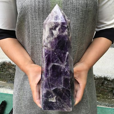 5.21LB Natural dreamy amethyst obelisk crystal wand point healing 10.3'' L4037