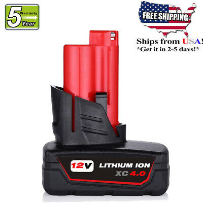 12V Replace For Milwaukee 48-11-2401 M12 48-11-2402 LITHIUM ION XC 4.0 Battery