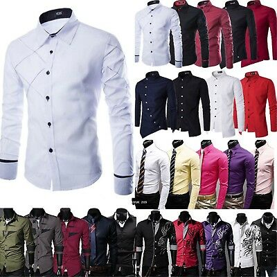 Men Slim Fitness Casual Dress Shirt Long Sleeve Formal Business Work T-shirt Top