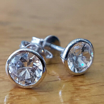 4.00 CT Diamond Round Cut 14k White Gold Solitaire Stud Earrings For Women's