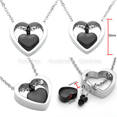 Openable Urn Cremation Heart Pendant Necklace Ash Holder Mini Keepsake Jewelry