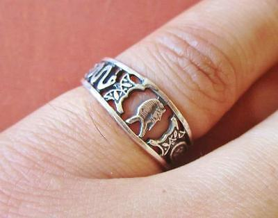 Antique Egyptian Silver Ring Band Adjustable of Ancient Tutankhamun Mask_Stamped
