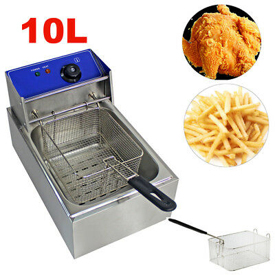 10L Electric Commercial Deep Fryer Stainless Steel Basket Single Tank Fat Chip