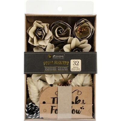 "Prima Boxed Flowers-sandstone W/tags, 1.25""-2.5"", 32/pkg"
