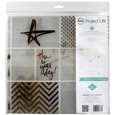"Project Life Photo Pocket Pages 12""x12"" 12/pkg-heidi Swapp -gold Foil W/stickers"