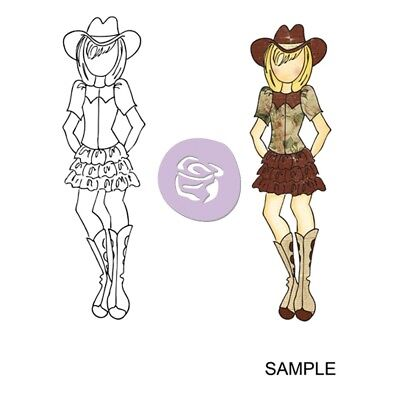 """Julie Nutting Mixed Media Cling Rubber Stamps-becky Cowgirl 3.5""""x8"""""""