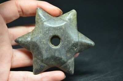 Exquisite Chinese Hongshan culture magnetic jade six angle Star Pendant