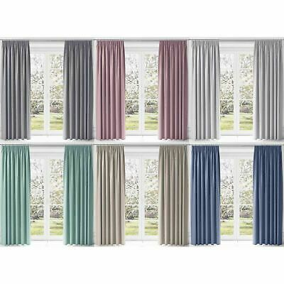 Thermal Blackout Curtains Lewis Tape Top Lined Ready Pencil Pleat Curtain Pairs