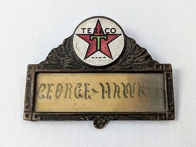 Vintage Antique Texaco Employee Attendent Name Tag Badge Enameled Pin Oil