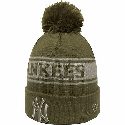 New Era MLB Bobble New York Yankees Seasonal Khaki Jake Knit Sideline Beanie Hat