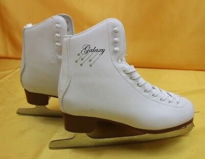 Galaxy Ladies Girls Figure Ice Skates White Leather Boot  Uk 7  ## Oad 47 Lc