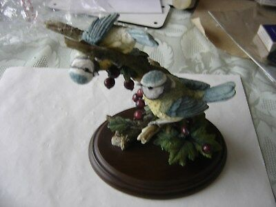 Country Artists Ceramic Ornament Blue Tit Pair With Hawthorne Berries 1999 Mint
