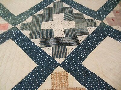 Antique Primitive Hand Stitch & Quilted Patchwork Full Quilt Cadet Blue Calico