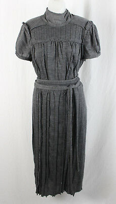 Marc Jacobs Women's Heather Gray Textured Pleated High Neck Maxi Dress Size 8