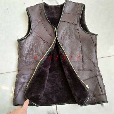 Retro Men Real Sheepskin New Thick Warm Sleeveless Wool Fur Lined Waistcoat Vest
