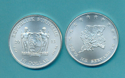 Suriname Silver 2013 $10.00 Gem Bu .999- 1 Oz. Coin - #aa