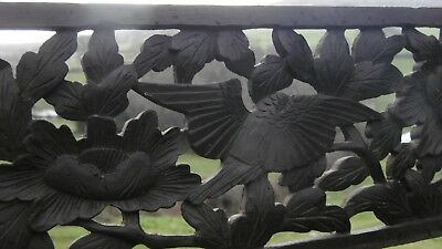 SUPERB 19thc JAPANESE OAK CARVED PANEL WITH ORIENTAL FLOWERS & LEAVES