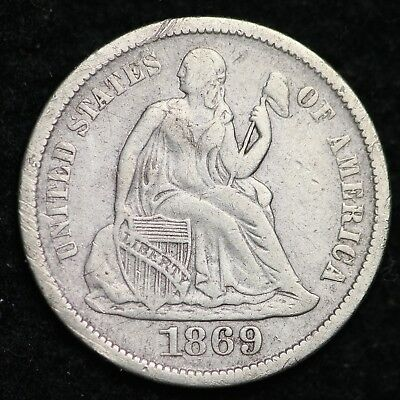 1869-S Seated Liberty Dime CHOICE XF FREE SHIPPING E218 CEN