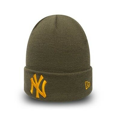 New Era MLB New York Yankees League Essential Cuff Olive Green Beanie Fitted Hat
