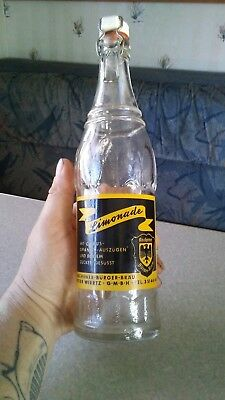 Vintage Acl Soda Pop Bottle Limonade Germany Porcelain Top .5 L
