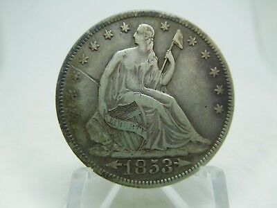 1853 US Silver Seated Half Dollar Very Fine- Scratch On Obverse